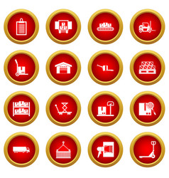 logistic icon red circle set vector image