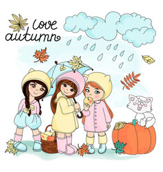 Love autumn autumn set vector