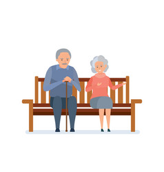 lovely elderly couple sitting on bench they relax vector image