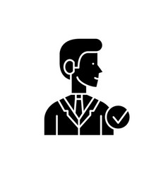 manager black icon sign on isolated vector image