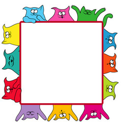 Many amusing cats around a square billboard vector