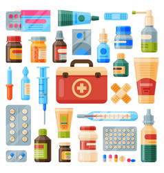 Medical instruments first-aid set outfit medicine vector
