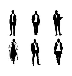 men silhouettes on white background vector image