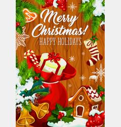 Merry christmas holiday wish greeting card vector