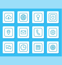 minimalistic linear icons for mobile devices set vector image