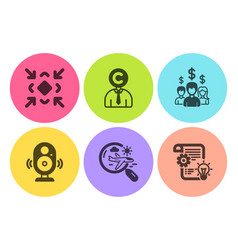 Minimize copyrighter and speaker icons set vector