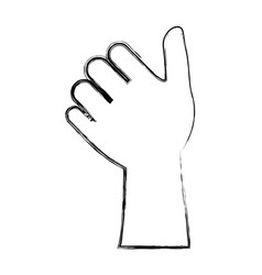 monochrome blurred silhouette of left hand thumb vector image