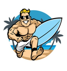 Muscle body surfer running at beach vector