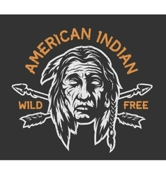 Native american indian head vector