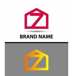 Number 7 logo logotype design with house vector