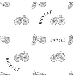 old bike drawn by hand seamless pattern vector image
