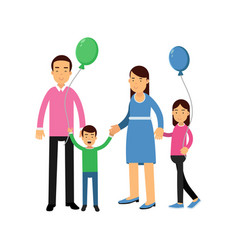 parents and their two kids standing with colorful vector image