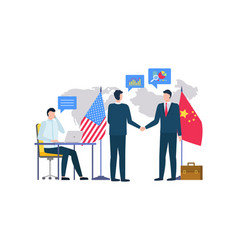 partners china and usa on conference agreeing vector image
