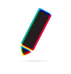 Pencil icon with shadow vector