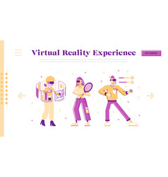 people use virtual reality technology website vector image