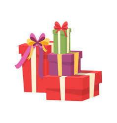 pile of wrapped packages shopping packs vector image