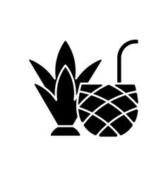 Pina colada black glyph icon vector