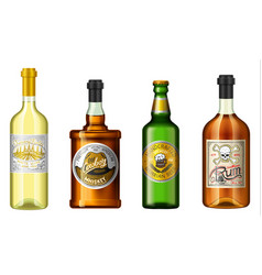 Realistic alcohol drinks in a bottle vector