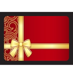 Red gift card with golden swirls and ribbon vector