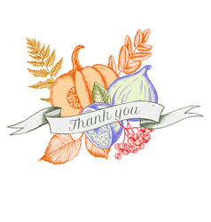Ribbon design of autumn vegetables with thank you vector