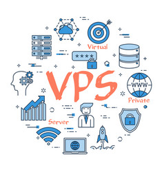 Round linear banner - vps concept vector