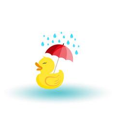 Rubber ducky with an umbrella in rain icon vector