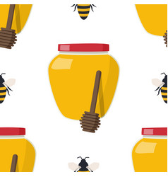 Seamless pattern with drawing yellow bees vector