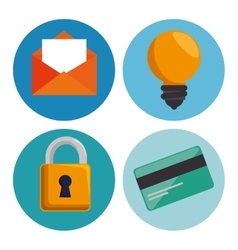 set credit card padlock email and bulb idea vector image