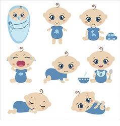 Set of cute baby boys vector