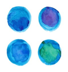 Set of watercolor blue circles vector image