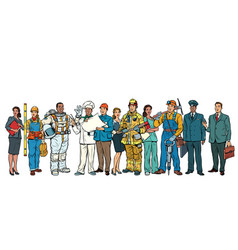 set people of different professions standing in a vector image