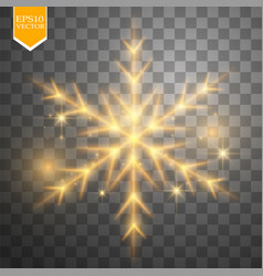 shine gold snowflake with glitter isolated on vector image
