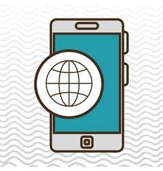 smartphone and connection world isolated icon vector image