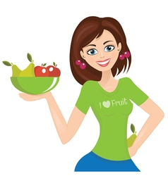 Smiling woman presenting plate with fruit vector image