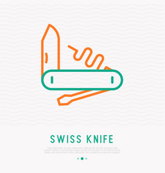 Swiss knife thin line icon vector