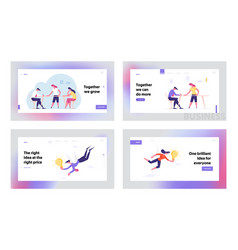 Teamwork inspiration landing page template set vector