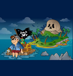 Theme with pirate skull island 5 vector