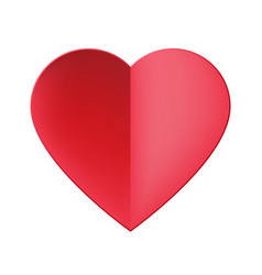 Trendy realistic paper cut red heart icon vector