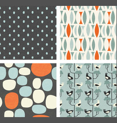 trendy retro spring patterns birds abstracts vector image