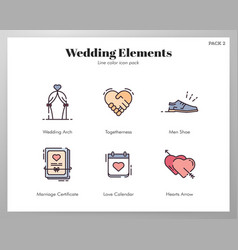 Wedding elements linecolor pack vector
