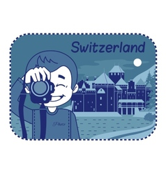 With Chillon Castle in Switzerland vector