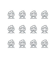 Woman face with different expressions line icons vector