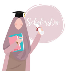 Woman islam education wearing scarf graduation vector
