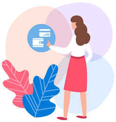 woman presses button on background girl vector image