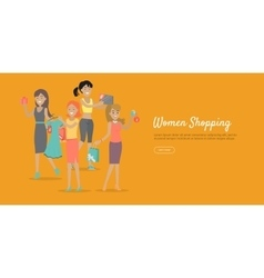 Woman Shopping Conceptual Flat Web Banner vector image