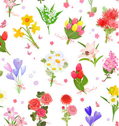 finely seamless texture with different bouquet of vector image