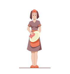 housekeeper or housewife cleans the dishes after vector image