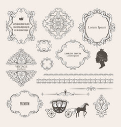 mega set collections of vintage design elements vector image