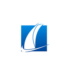 sail boat abstract logo vector image