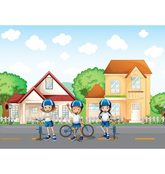 Three cute bikers at the road vector image